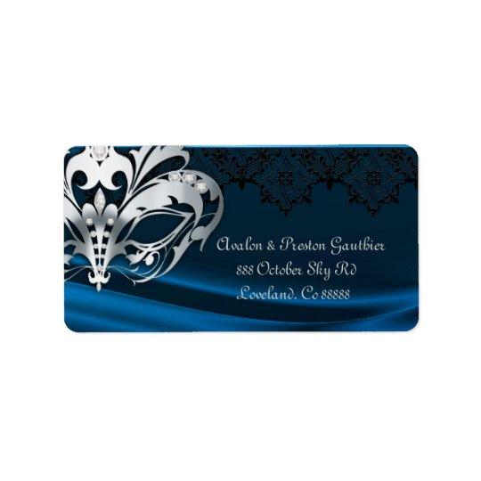 Silberne Maskerade-blaues Juwel-Adressen-Etikett Adress Aufkleber
