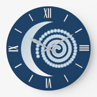 Silberne Mond-Spirale, dunkelblau Große Wanduhr