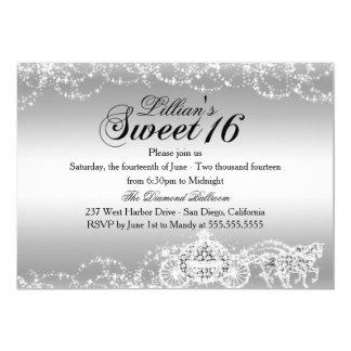 Silberne Pferdewagen-Prinzessin Sweet 16 laden ein 12,7 X 17,8 Cm Einladungskarte