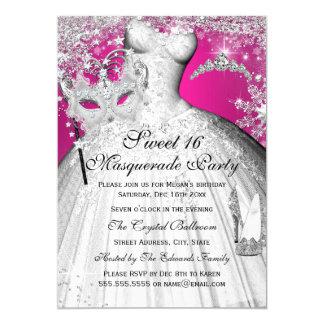 Silberne rosa Prinzessin Masquerade Sweet 16 laden 12,7 X 17,8 Cm Einladungskarte