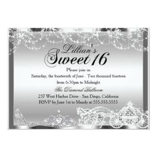 Silberne Schein-Prinzessin Theme Sweet 16 laden 12,7 X 17,8 Cm Einladungskarte