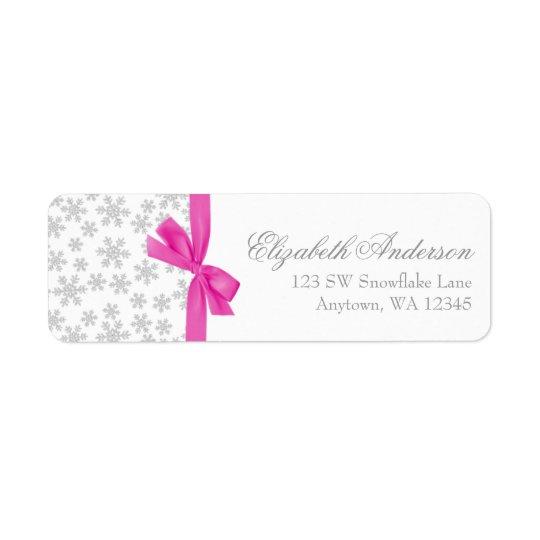Silberne Schneeflocke-Rosa-Bogen-Adressen-Etikette Rücksende Aufkleber