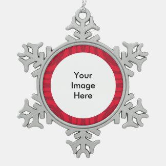 Silberne Schneeflocke-Verzierung mit rotem Rahmen Schneeflocken Zinn-Ornament