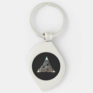 Silberne schwarze Dreieck-Spiralen-keltischer Schlüsselanhänger