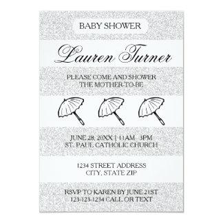 Silberne u. weiße Streifen - Babyparty-Einladung 12,7 X 17,8 Cm Einladungskarte
