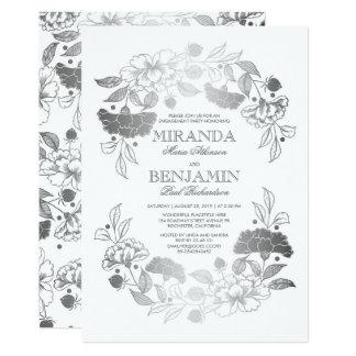 Silberner Blumenwreath-elegantes Verlobungs-Party 12,7 X 17,8 Cm Einladungskarte