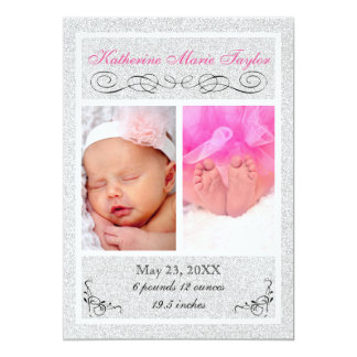 Silberner Glitter - Geburts-Mitteilung 12,7 X 17,8 Cm Einladungskarte