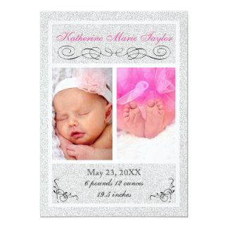 Silberner Glitter - Geburts-Mitteilung Karte