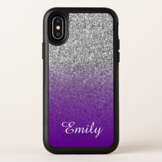 Silberner Glitzer violetter lila Ombre OtterBox Symmetry iPhone X Hülle