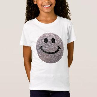 Silberner Imitat-Glitter-Smiley T-Shirt