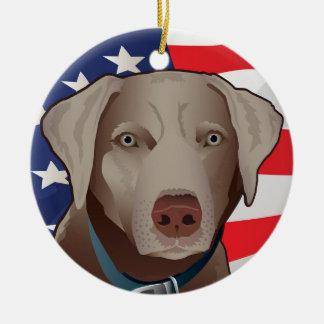 Silberner Labrador-Retriever von Amerika Keramik Ornament