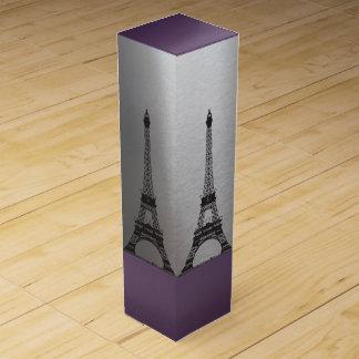 Silberner lila Turm Paris Eiffel Weinbox