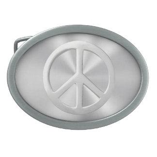 Silbernes Friedenssymbol Ovale Gürtelschnallen
