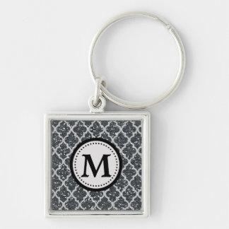 Silbernes Glitter Quatrefoil Muster-Monogramm Schlüsselanhänger