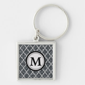 Silbernes Glitter Quatrefoil Muster-Monogramm Silberfarbener Quadratischer Schlüsselanhänger