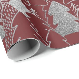 Silbernes Grau-Glitzer-Holz Geschenkpapier