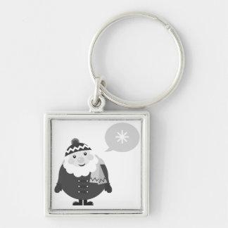 Silbernes keychaine mit Sankt Silberfarbener Quadratischer Schlüsselanhänger