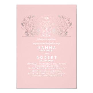 Silbernes rosa und Vintages Verlobungs-mit 12,7 X 17,8 Cm Einladungskarte