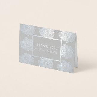 Silbernes Rosen-Tapisserie-Beileid danken Ihnen Folienkarte