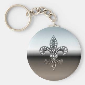 Silbernes Schwarzes Lilien-Flor New Orleans Standard Runder Schlüsselanhänger
