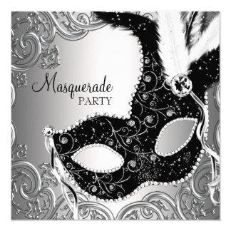 Silbernes schwarzes Masken-Maskerade-Party Quadratische 13,3 Cm Einladungskarte