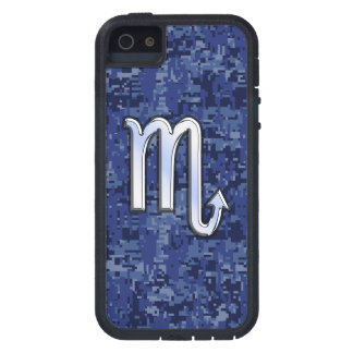 Silbernes Skorpions-Tierkreis-Zeichen auf blauer iPhone 5 Hüllen