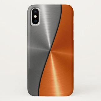Silbernes und orange Edelstahl-Metall iPhone X Hülle