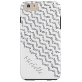 Silbernes Zickzack weißes personalisiertes Tough iPhone 6 Plus Hülle