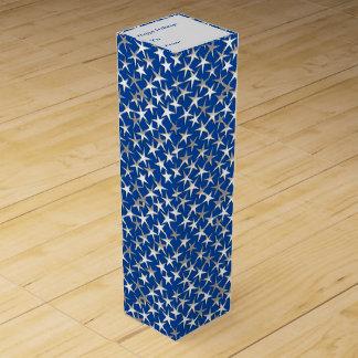 Silbersterne auf Kobaltblau Wein-Geschenkverpackung
