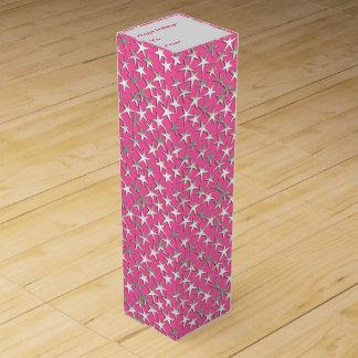Silbersterne auf pinkfarbenem Rosa Weinbox
