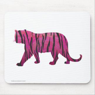 Silhouette-heißes Rosa-und Schwarz-Tiger Mousepads