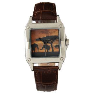 Silhouetten der afrikanischen Elefanten im Uhr