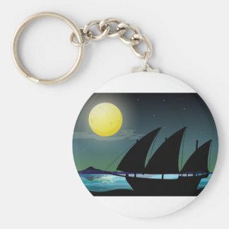 Silhouettesegelboot in Meer Schlüsselanhänger