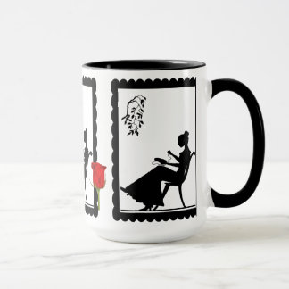 SIllhouette Tasse, Dame mit Stickerei Tasse