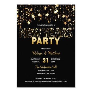 SILVESTER Party Einladungs-Gold hat Lichter in der Karte
