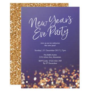 Silvester-Party Glitzer-Einladung Karte