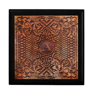 Simuliertes Holz, das Monogramm A-Z ID446 schnitzt Geschenkbox