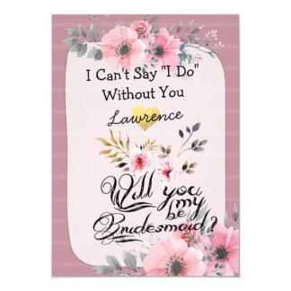 Sind Sie mein Brautjungfern-Aquarell-Blumenskript Karte