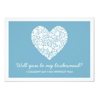 Sind Sie meine Brautjungfer? Blaue Herz-Karte 12,7 X 17,8 Cm Einladungskarte