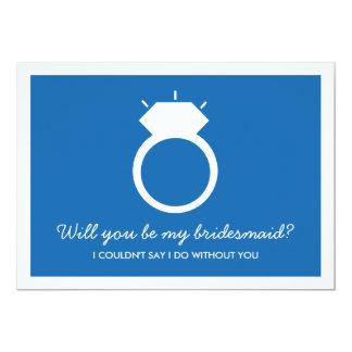 Sind Sie meine Brautjungfer? Blaue Ring-Karte 12,7 X 17,8 Cm Einladungskarte