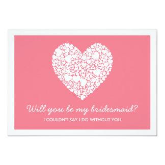 Sind Sie meine Brautjungfer? Rosa Herz-Karte 12,7 X 17,8 Cm Einladungskarte