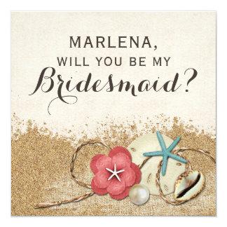 Sind Sie meine Brautjungfer? Sandy-Strand-Hochzeit Karte