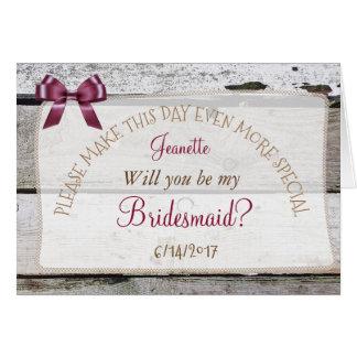 Sind Sie meine Brautjungfern-rustikale Karte