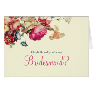Sind Sie meine Brautjungfern-Vintage Blumenkarte Karte