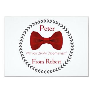 Sind Sie meine Trauzeuge rote Bogen-Krawatte 12,7 X 17,8 Cm Einladungskarte
