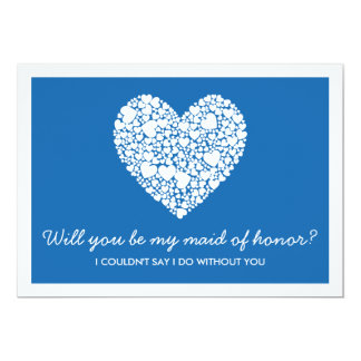 Sind Sie meine Trauzeugin? Blaue Herz-Karte 12,7 X 17,8 Cm Einladungskarte