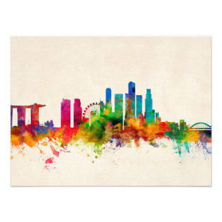 Singapur-Skyline Photodruck