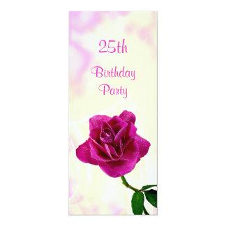 Single-lila Rosen-25. Geburtstag 10,2 X 23,5 Cm Einladungskarte