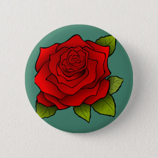 Single-Rote Rose Runder Button 5,1 Cm