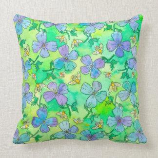Singrün-blaue Blumen-Bienen Kissen